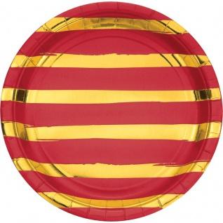 8 Teller in Rot mit Gold gestreiften Glanz Applikationen