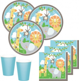 48 Teile kleine Dschungel Freunde Party Deko Set für 16 Kinder