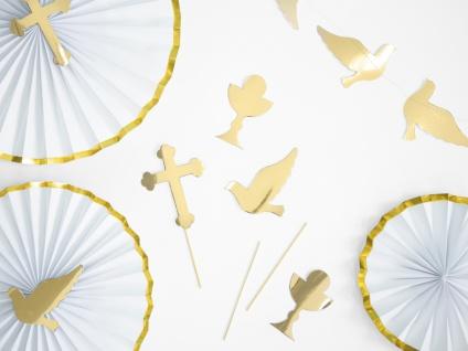 3 goldene Torten oder Blumen Stecker Kreuz Taube Kelch DIY - Vorschau 2