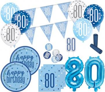 XL 36 Teile 80. Geburtstag Blue Dots Party Deko Set 8 Personen
