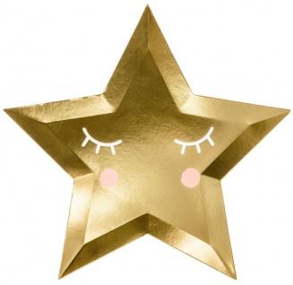 6 Papp Teller schlafender Stern in Gold Metallic
