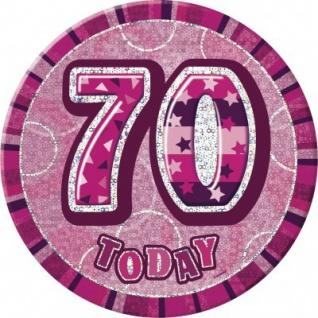 XXL Glitzer Button 70. Geburtstag Pink