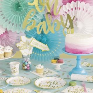 32 Teile Hello Baby Babyshower Party Deko Set Gold foliert für 8 Personen - Vorschau 5