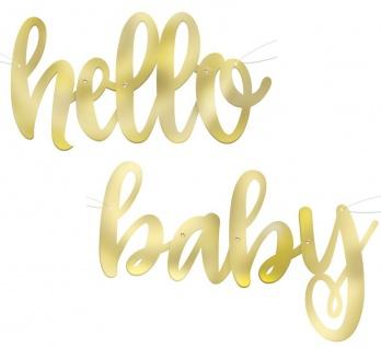 Hello Baby Girlande in Gold Metallic