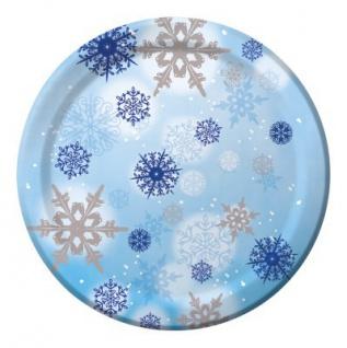 8 große Teller Schneeflocken 26 cm