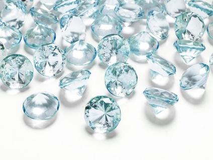10 Deko Plastik Diamanten türkis - 20 mm Durchmesser