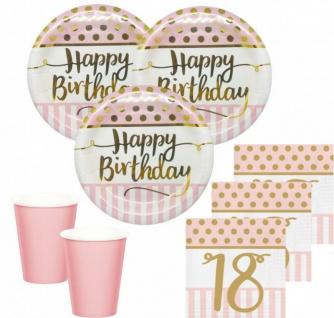 36 Teile Pink Chic Party Deko Set zum 18. Geburtstag in Rosa und Gold Glanz für 8 Personen