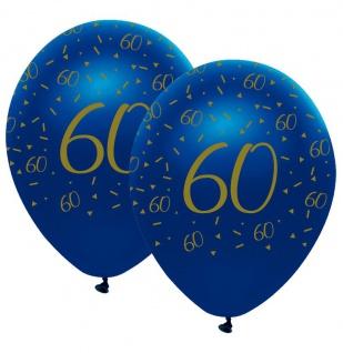 6 Luftballons blauer Achat zum 60. Geburtstag in Gold bedruckt