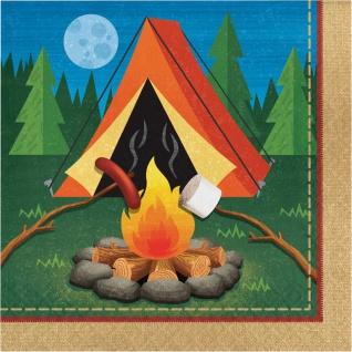16 Servietten Lagerfeuer, Zelten und Angeln