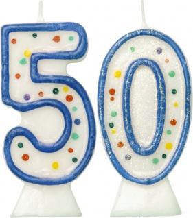 Glitzer Zahlenkerzen in Blau mit bunten Punkten 50
