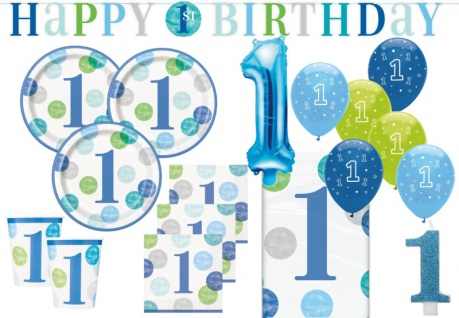 XL 42 Teile Erster Geburtstag Blaue Punkte Party Deko Set 8 Personen