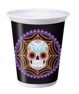 8 große Halloween Plastik Becher Day of the Dead 473ml