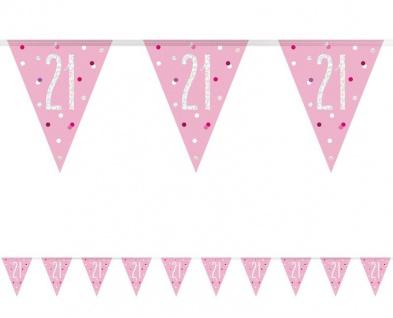 Wimpel Girlande Pink Dots Glitzer zum 21. Geburtstag