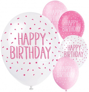 5 Happy Birthday Luftballons Rosa und Pink Mix