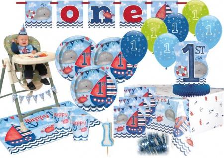 XXL 60 Teile Erster Geburtstag Maritim am Meer Party Deko Set 16 Personen