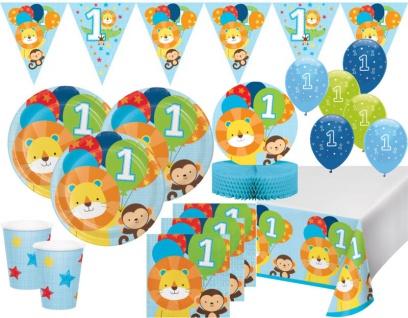 XL 41 Teile Erster Geburtstag im Zoo Blau Party Deko Set 8 Personen