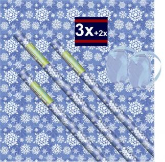 3 Rollen blaues Schneeflocken Geschenkpapier + 2 Eiknäuel Geschenkband