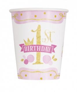 32 Teile Erster Geburtstag Rosa und Gold Party Deko Set 8 Personen - Vorschau 3