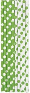 10 Papier Trinkhalme hellgrüne Punkte - Vorschau