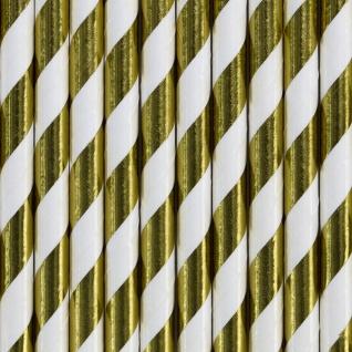 10 Papier Trinkhalme Gold Metallic und Weiß gestreift