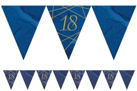 18. Geburtstag blauer Achat Wimpel Girlande aus Papier 3, 7m