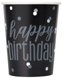 8 Papp Becher Black Dots Happy Birthday