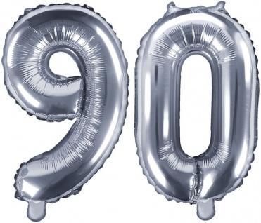 Folienballons Zahl 90 Silber Metallic 35 cm