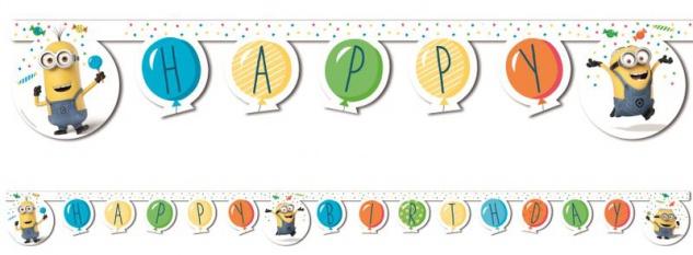 Geburtstags Girlande Minions mit Ballons