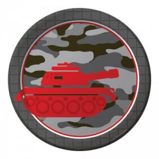 8 kleine Papp Teller Camouflage im Einsatz