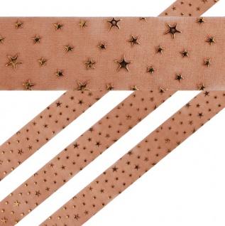 Geschenkband in Braun mit goldenen Sternen 4 cm breit 2 Meter lang - Vorschau
