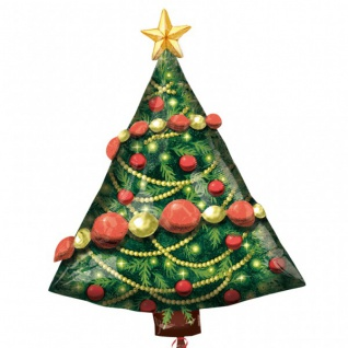Folien Ballon Weihnachtsbaum mit aufgesetzter Kugelgirlande