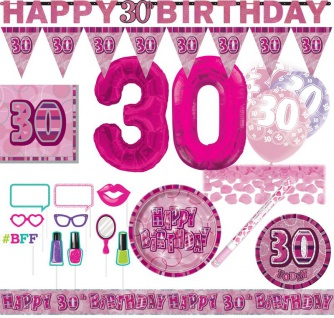 XXL Mega 73 Teile zum 30. Geburtstag Party Set in Pink für 16 Personen