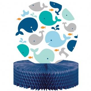 Tischaufsteller Happy Baby Wal Party Blau