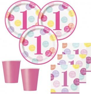 32 Teile Erster Geburtstag Rosa Punkte Party Deko Set 8 Personen - Vorschau 1