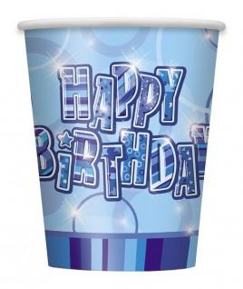 8 Happy Birthday Party Becher Blau