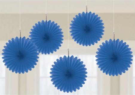 5 Mini Papier Dekofächer Königs Blau