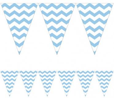 Wimpel Banner ZickZack Streifen in Pastell Blau