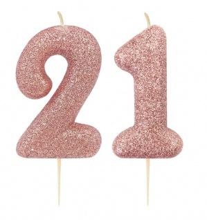 Kuchen Kerze 21. Geburtstag Rosegold Glitzer