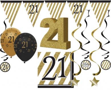 29 Teile Set zum 21. Geburtstag oder Jubiläum - Party Deko in Schwarz & Gold