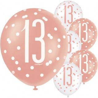 6 Luftballons Urban Apricot zum 13. Geburtstag