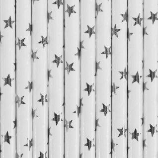 10 Papier Trinkhalme silber weiß Sterne