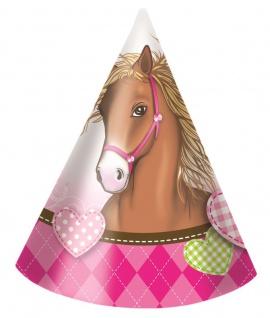 6 Pferde Party Hütchen Pink Pony