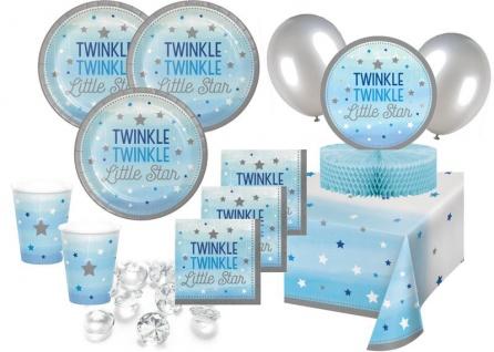 XXL 68 Teile Blinke kleiner Stern in Blau Babyshower Set für 16 Personen