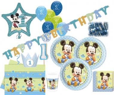 84 Teile Disney Baby Micky zum Ersten Geburtstag Party Deko Set 16 Personen 1. Geburtstag