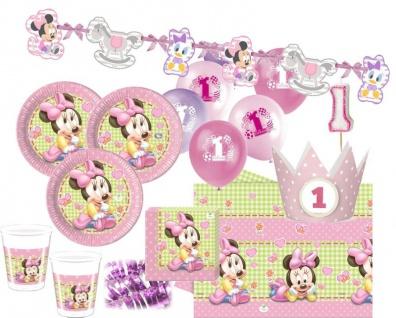 85 Teile Disney Baby Minnie zum Ersten Geburtstag Party Deko Set 16 Personen 1. Geburtstag