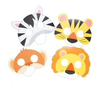 8 Masken aus Pappe mit Tier Motiven Kinder Safari