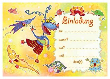 12 Einladungskarten Schmunzelmonster