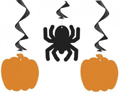 3 hängende Halloween Girlanden Kürbis und Spinne