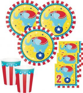 Zirkus Party Set zum 2. Geburtstag 16 Personen - 48 Teile