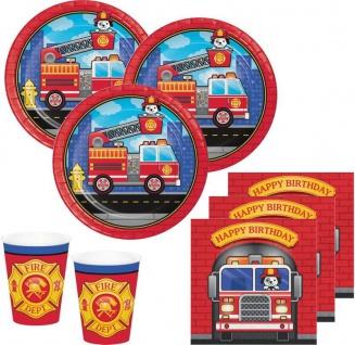32 Teile Feuerwehr Alarm Geburtstags Party Deko Set für 8 Kinder